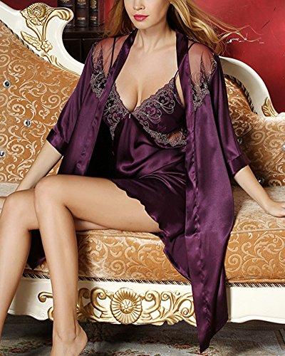 Pizzo 2 Viola Scuro V in in a Notte Seta Donna Pezzi Pigiama da Scollo ZhuiKun Vestaglia Camicia Kimono Raso pg7a4