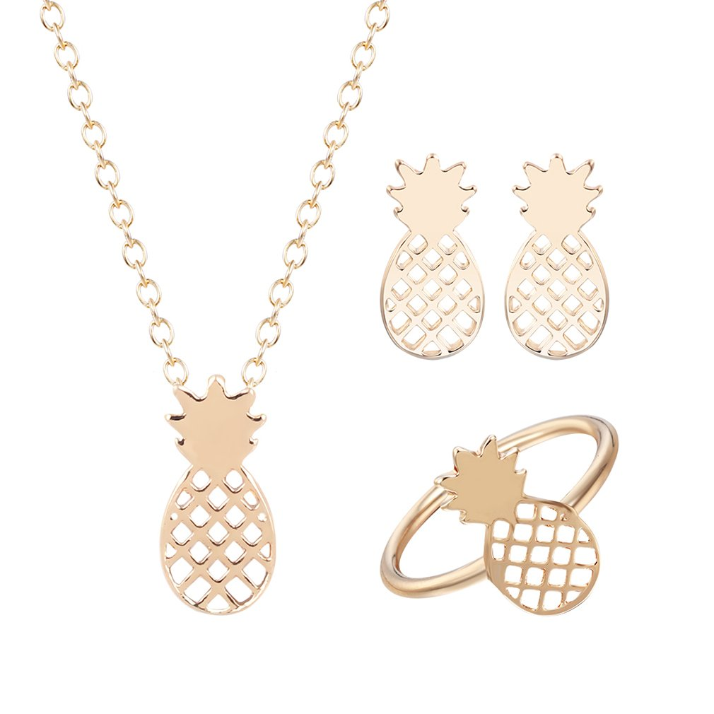 Pineapple Fruit Ring Necklace Earring Jewelry Sets for Women Girls Birthday Gift