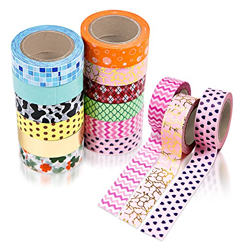 12 Washi Tape Set, Colored Tape, Scrapbook Stickers , Arts & Craft Supplies For Kids, Scrapbooking Paper For Girls & Teens, Journal & Planner Accessories, Masking Tape For DIY Gift Wrapping