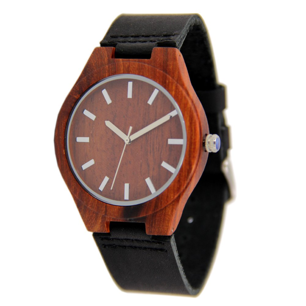 Mens Wood Watch with Genuine Leather Strap Gift Watch to Him