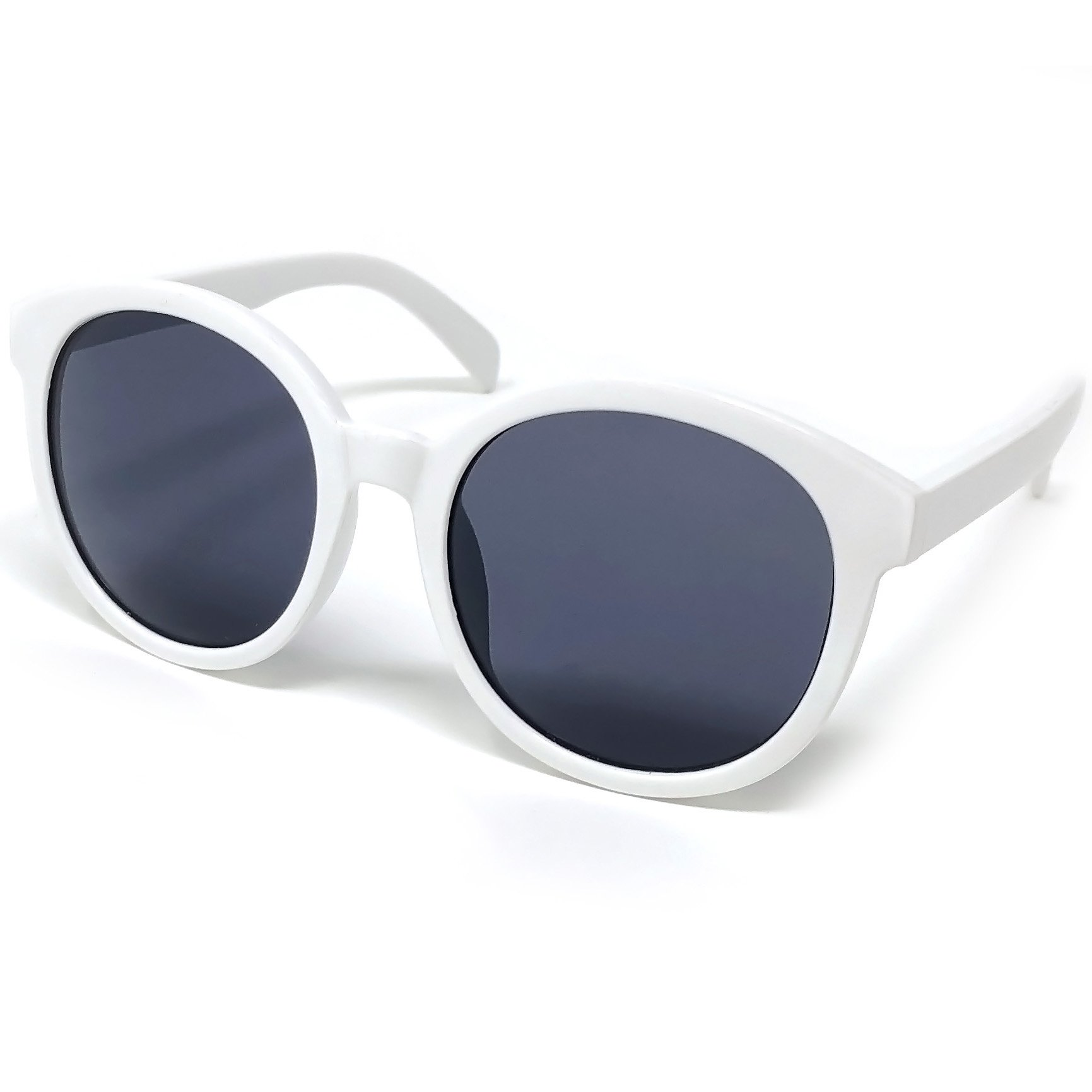 Loose Leaf Eyewear Kids Girls Round White Sunglasses in Smoke Lens with Girl Power White Case