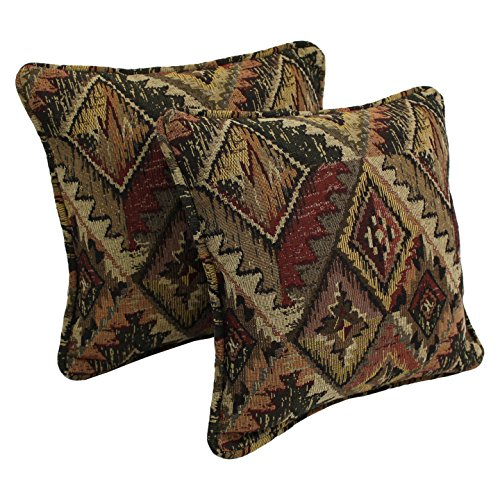 "Blazing Needles Patterned Tapestry Double-Corded Square Throw Pillows with Inserts (Set of 2), 18"", San Carlos"