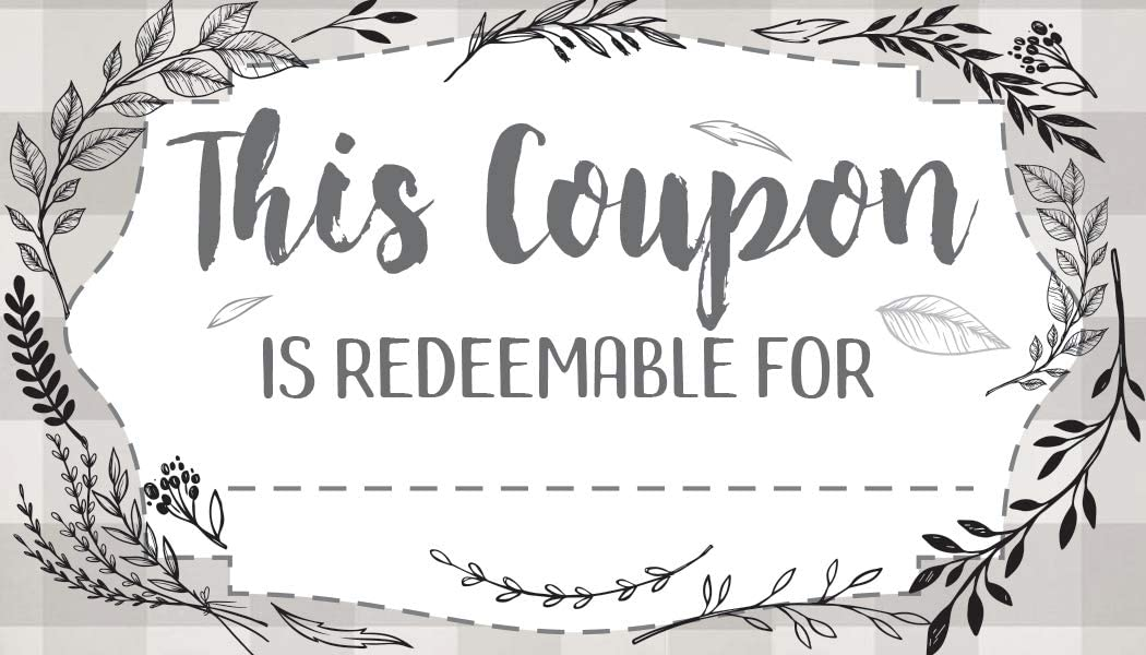 Botanicals - Set of 50 Coupon Cards - Blank Voucher Gift Card Stationery - Great Loyalty Cards For Restaurants, Hair Beauty Nail Salons or Spas