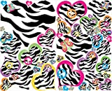 zebra print wall decals - Multicolored Zebra Print Heart Wall Decals / Heart Wall Stickers in Pink, Purple, Blue , Yellow , Green and Orange
