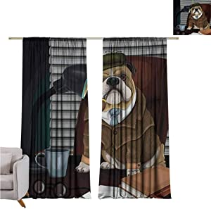 GUUVOR English Bulldog Blackout Curtain Traditional English Detective Dog with a Pipe and Hat Sherlock Holmes Image 2 Panel Sets W52 x L63 Inch Multicolor