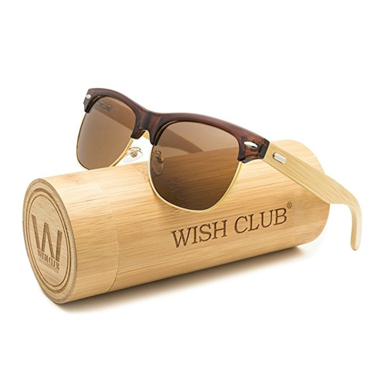 WISH CLUB Wood Clubmaster Sunglasses for Men with UV 400 Square Handmade with Bamboo Box (Brown)