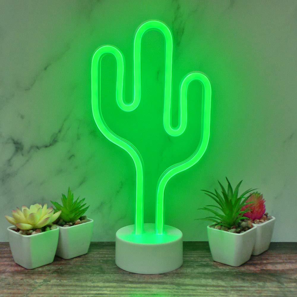 Battery Operated Cactus lampade a Luce Fino Neon Signs The Glowhouse Cactus della Luce al Neon di Luce di Notte con Il Basamento Room Decor