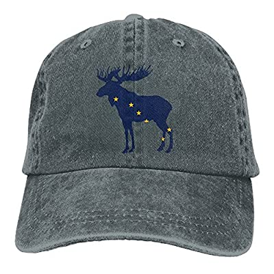 Alaska State Animal Moose Flag Classic Baseball Dad Hat for Women and Men