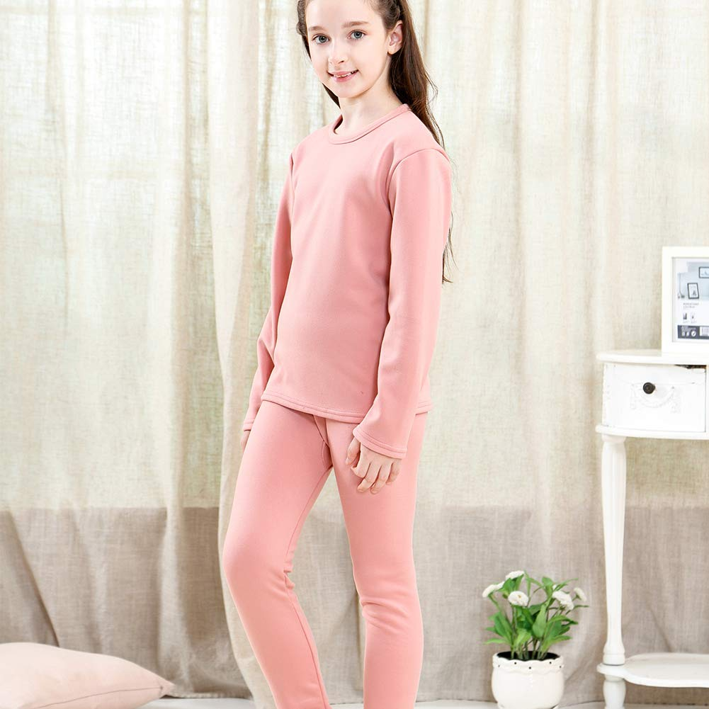 Tesuwel Girls Thermal Underwear Long John Set Fleece Line Base Layer Shirts and Pants 2 Pcs