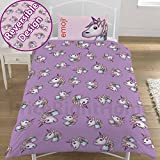 Emoji Bed Set Single Emoji Unicorn Single Duvet Set, Lilac