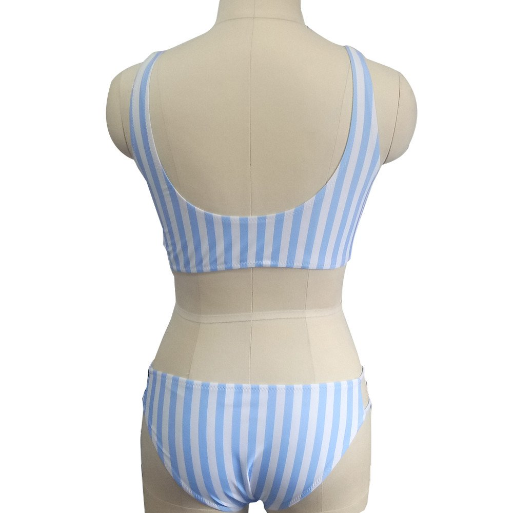Duseedik Women's Swimsuit Sexy Polka Dot Bow Detachable Padded Cutout Push up Striped Bikini Set Blue by Duseedik (Image #4)