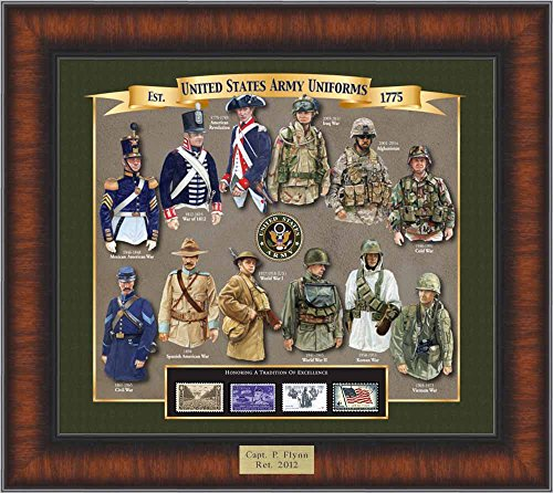Army Uniform History - Unique Framed Collectible (A Great Gift Idea) with Personalized Engraved Plate