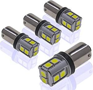 DODOFUN CANBUS BA9S White Extra Bright Car Interior Exterior Replacement Bulb Bayonet Base BA9 53 57 1445 1895 64111 Size Reading Map Dome Side Door Courtesy LED Light 12V 24V (Pack of 4)