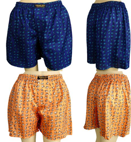 Thai Boxer Costume (2 X Men's Thai Silk Boxer Shorts- Small Elephants Design With Complimentary)