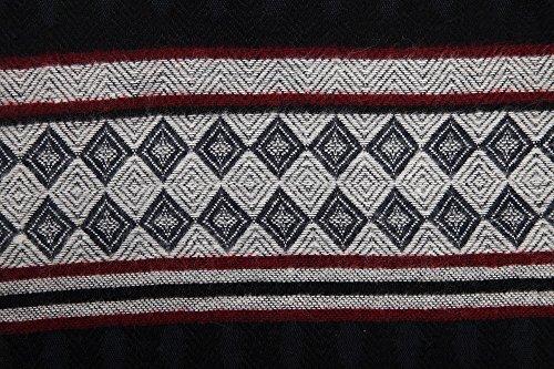 Fashion Cashmere Feel Winter Tartan Shawl Wrap Sweater Pashmina Poncho Tassel Fringe Scarf (Navy)