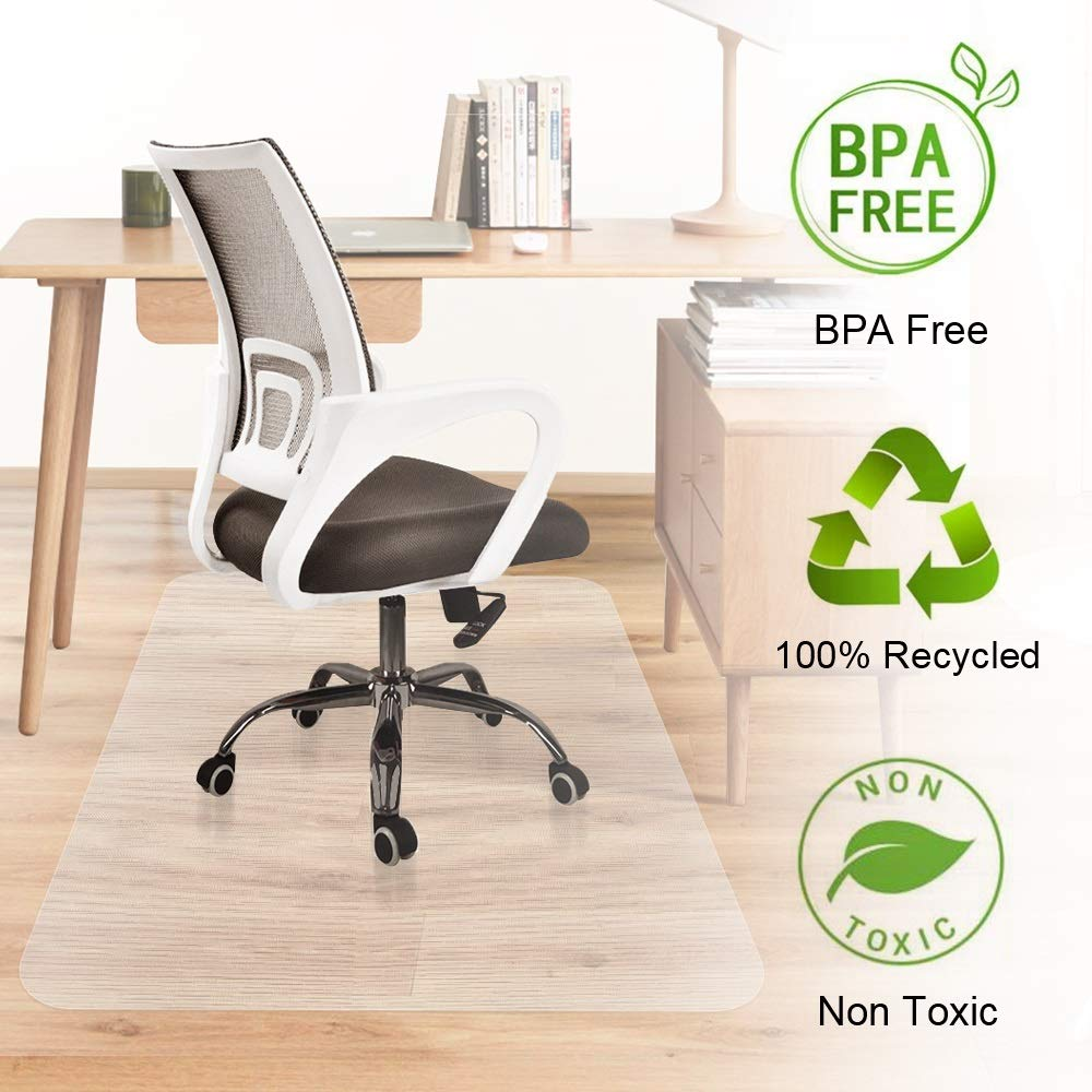 Office Desk Chair Mat Hardwood Floor Protector Heavy Duty Clear Recycled Polycarbonate BPA and Odor Free Non Slip Flat No Curling Home Office Computer Desk Floor Mats 35 x 47inches (Office Floor mat) by Marchpower