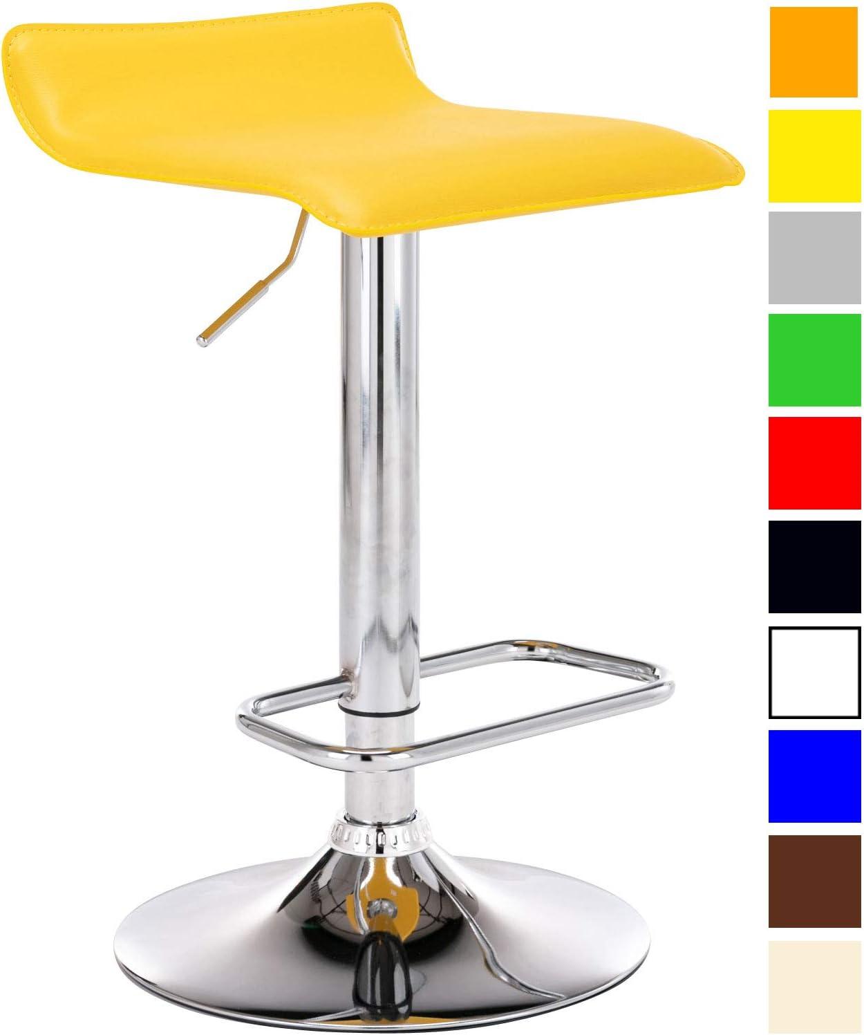 Taburete Dyn En Cuero Sint/ético I Silla Alta De Bar Regulable en Altura /& Giratorio I Taburete Alto con Reposapi/és I Color: Color:Amarillo
