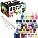 Crazy Colors 30 Color 3D Fabric Paint Set Kit - Shiny Vibrant Puffy Colors in Marker Pen Style Bottles - Create Permanent Art on Fabric, Textiles, T-Shirts, Canvas, Wood & most Porous Surfaces.