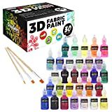 Arts & Crafts : Crazy Colors 30 Color 3D Fabric Paint Set Kit - Shiny Vibrant Puffy Colors in Marker Pen Style Bottles - Create Permanent Art on Fabric, Textles, T-Shirts, Canvas, Wood, Ceramic, Glass