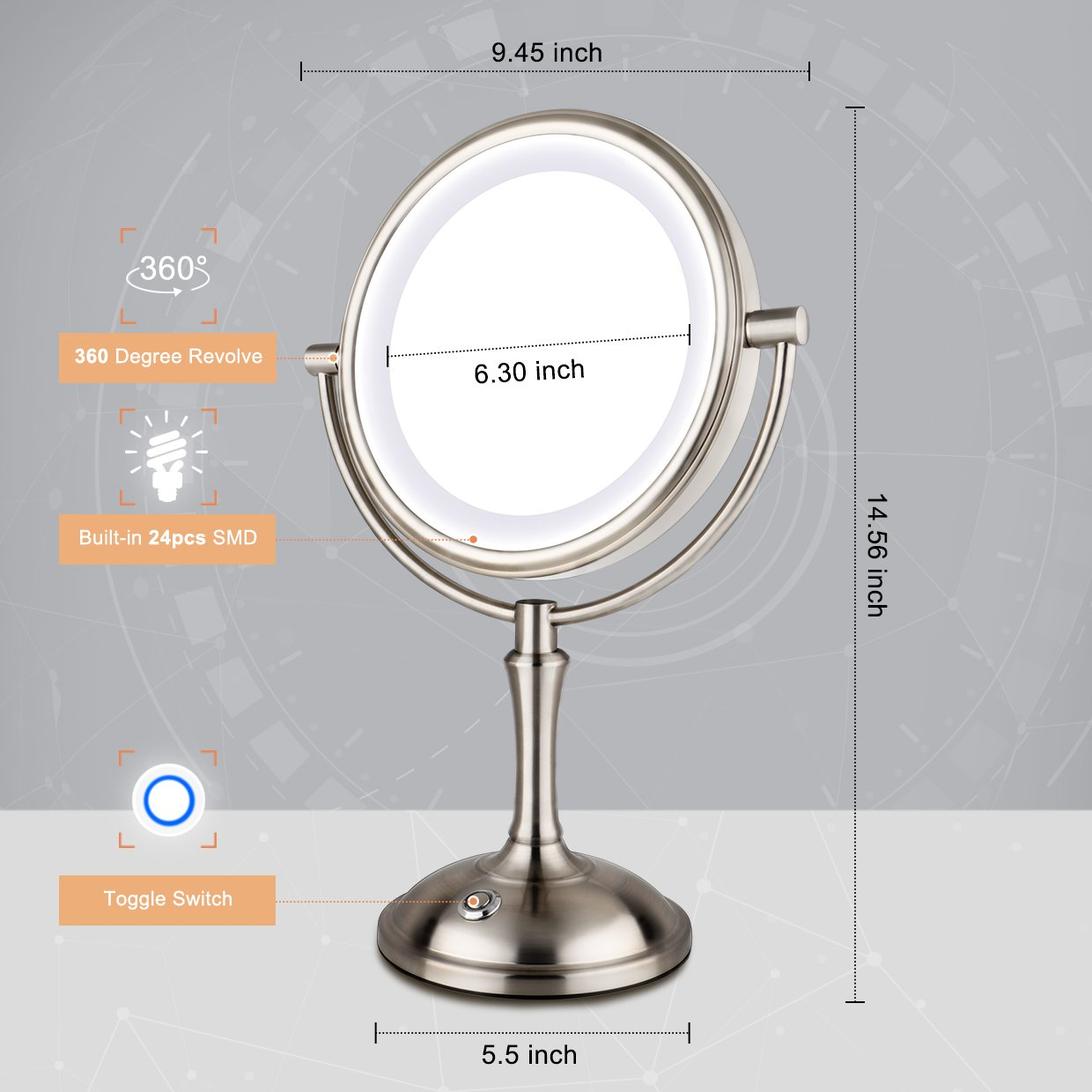 AmnoAmno LED Makeup Mirror-10x Magnifying,7.8'' Double Sided Lighted Vanity Makeup Mirror with Stand, Touch Button Adjustable Light,USB,AC Adapter or Battery Operated-Cord or Cordless