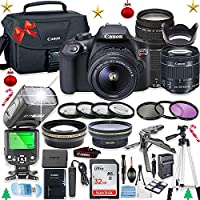 Canon EOS Rebel T6 DSLR Camera w/ EF-S 18-55mm is II Lens & 75-300mm f/4-5.6 III Lens + 32GB Sandisk Memory + Canon Case + TTL Speedlight Flash (Good Upto 180 Feet) + Accessory Bundle