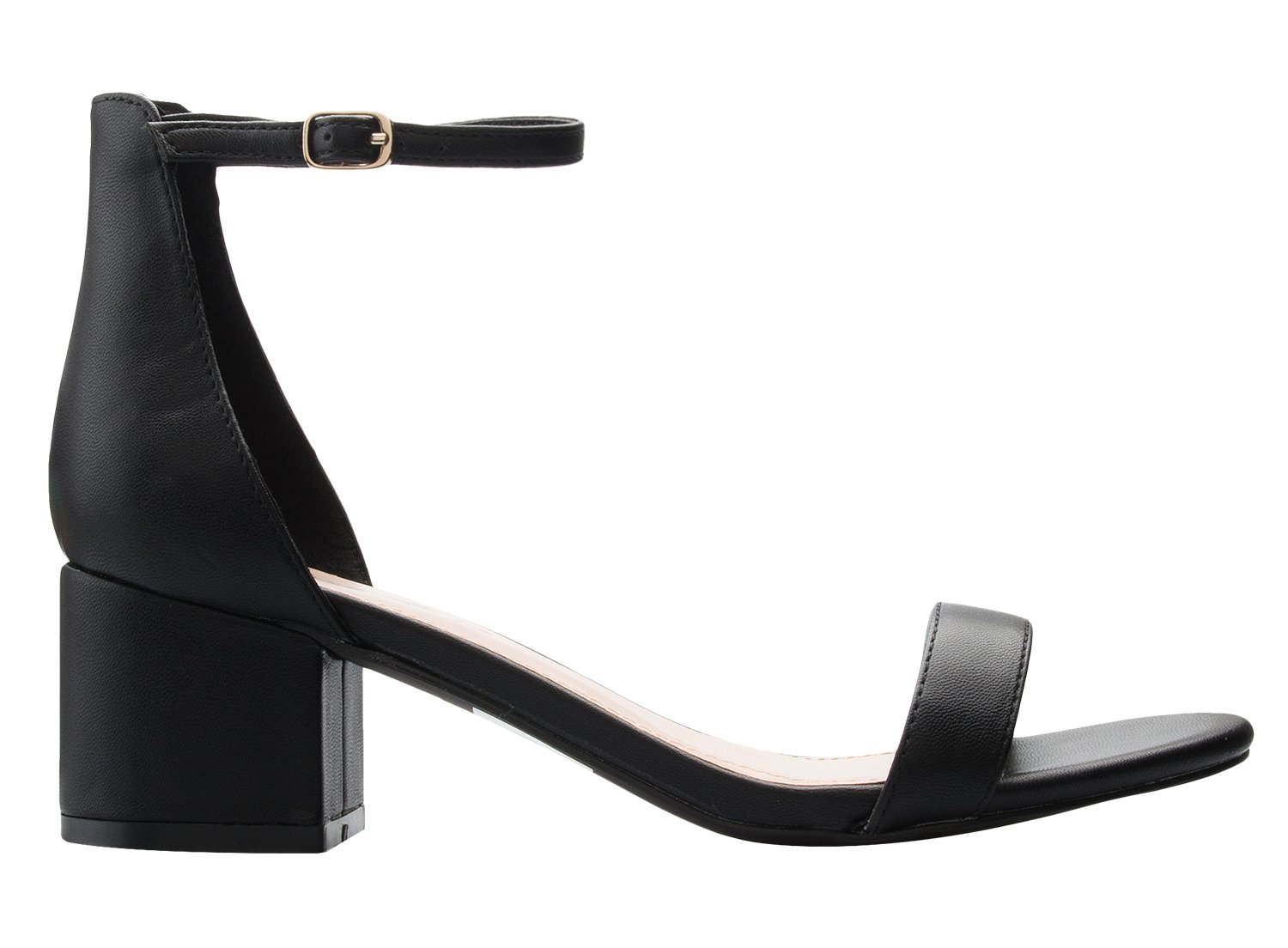 OLIVIA K Women's Ankle Strap Kitten Heel – Adorable Low Block Heel,Black Pu,8.5 B(M) US by OLIVIA K (Image #2)