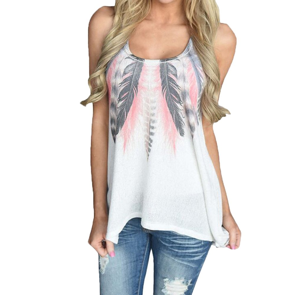 WensLTD Clearance! Women Feather Printed Sleeveless Blouse Casual Tank Tops T-Shirt