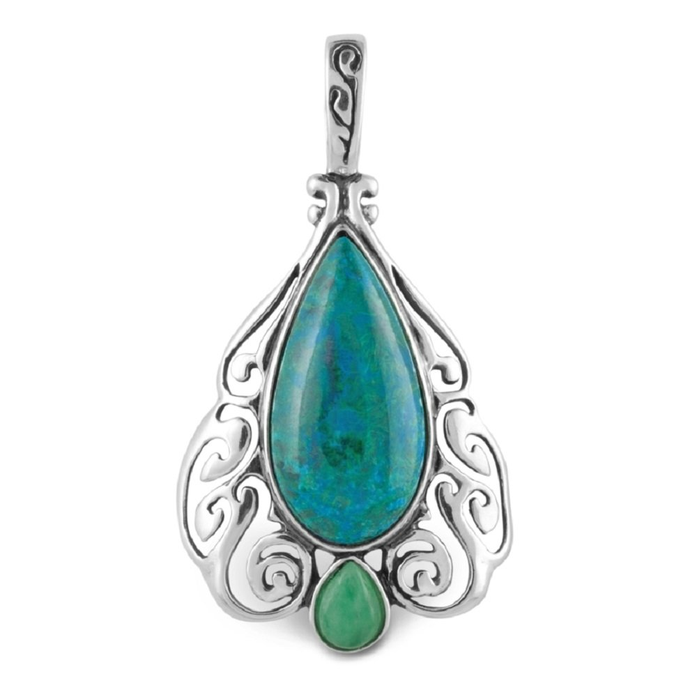 Relios Sterling Silver Chrysocolla Art Deco Pendant Enhancer