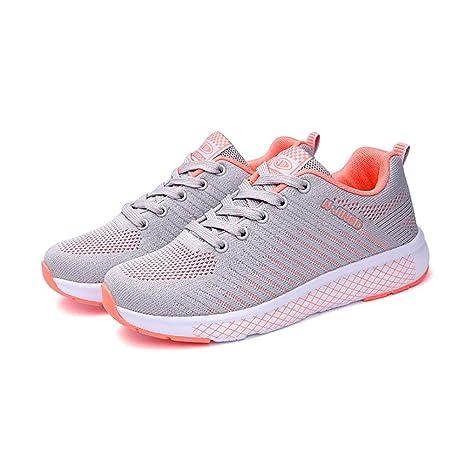MhC Zapatos de Mujer Zapatos Deportivos de Punto Sneaker Ligero Senderismo Primavera Otoño Shock Absorption Zapatos