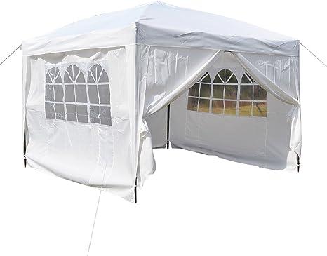 Homdox Carpa de aluminio para jardín, 3 x 3 m, cenador, pérgola con 4 paredes laterales y 2 ventanas, plegable, incluye bolsa de transporte