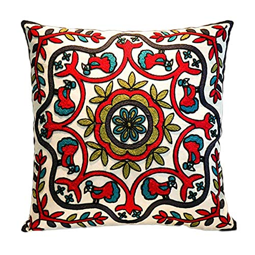 MeMoreCool Bohemia Exotic Style Pillow Sham Exquisite Stereoscopic Embroidered Cotton Throw Pillow Cover Indian Decor Sofa Cushion Cover Pillow Case 18