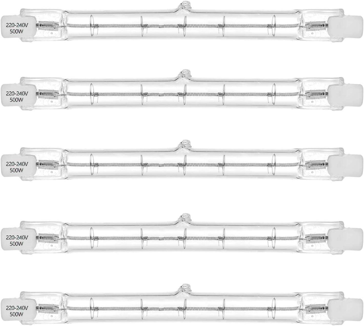 Proyector halógeno lineal R7s equivalente a 500 W 7750lm 2700K J118 Bombilla de luz de seguridad Lámpara R7s 118 mm de longitud, regulable, paquete de 5