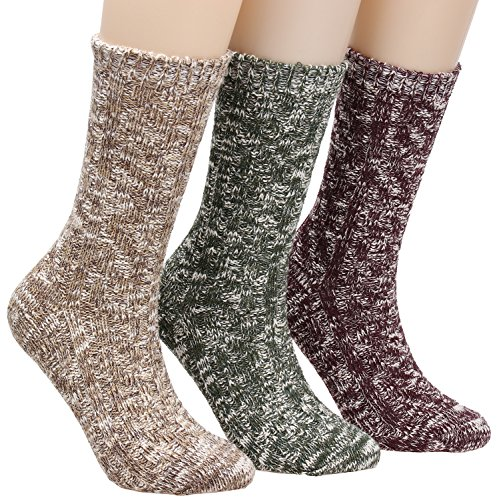 Galsang Super Thick Warm Comfort Knit Crew Winter Socks For Women 3 packs A155 (mixed color)