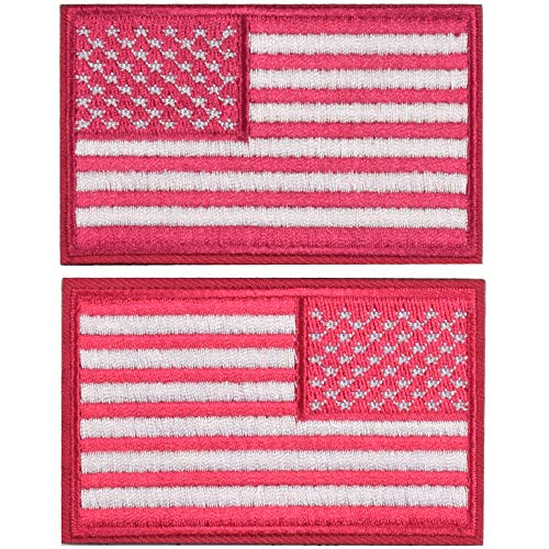 2 Pieces Tactical US American Flag Patch, Military USA United States of America Uniform Emblem Patches, Multitan - Reverse Pink