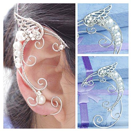 Aifeer 1 Pair Elven Ear Cuffs Filigree Cosplay Fairy Elf Ear Cuffs Fantasy Costume Ears (Elf Ears Costume)