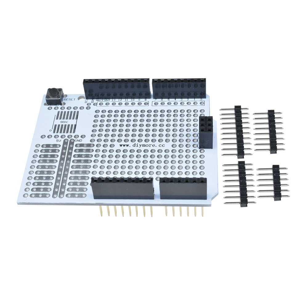 Diymore 2pcs Prototyp Pcb Expansion Board For Arduino Uno R3 Shield Diy High Quality Breadboard Printed Circuit Panel Prototype 2 Mm 254 Pitch With Pins Tools