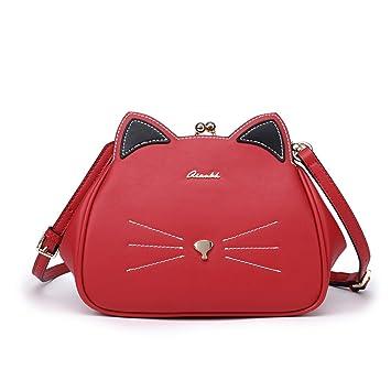 Bolsos Gato de Mujer Bandolera Pequeña Rojo Bolsa Animales Bag Piel Imitación de Hombro para Niña: Amazon.es: Equipaje