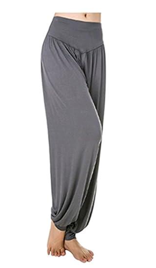 Leisial Pantalones de Yoga Algodón Suave Piernas Pantalones Anchos Sólido  Color Elástico Pretina Pantalones Bombachos de Fitness Bailan Deportivo  para ... b6a0a6e6433f
