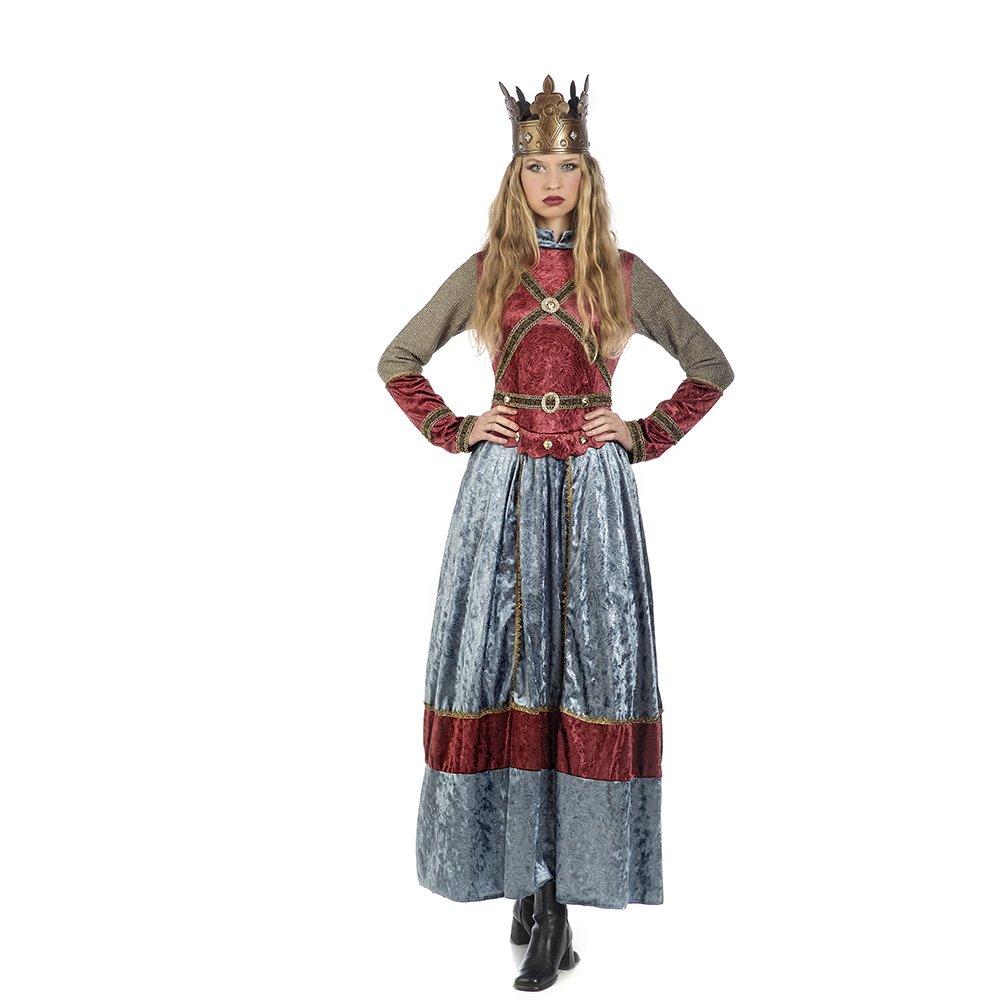 Elbenwald Vestido de La Reina Isabell Damenkostuuml;m con La Corona Azul Rojo