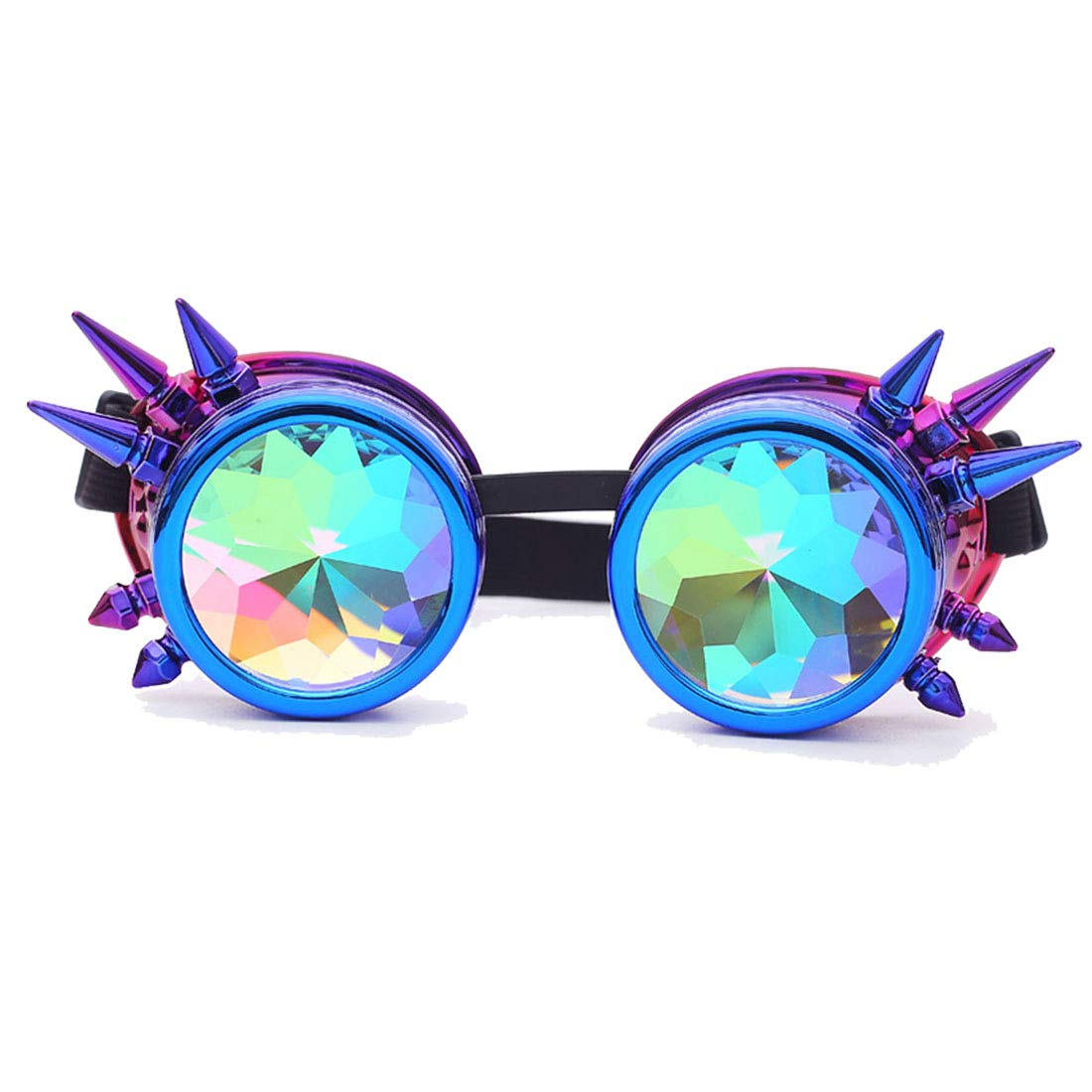 blueepurple Spike Kaleidoscope Steampunk Rave Glasses Goggles with Rainbow Crystal Glass Lens