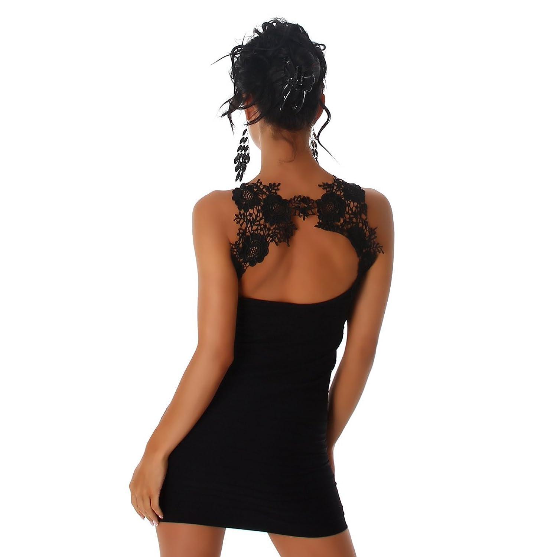 2abe19fba2c61 Jela London Damen Kleid Mini Cocktail Partykleid Longtop Spitze Stickerei  Rundhals Träger Longshirt