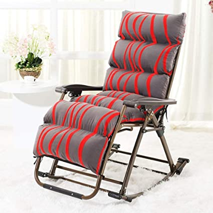 QTQZ Rocking Chair Lying Chair Folding Lunch Break Lazy Sofa Balcony Happy  Rattan Chair Casual Swing
