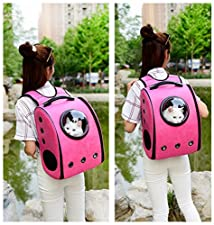 Pet Backpack Outdoor Pet Carrier Bag Breathable Dog Carrier Backpack Portable Bag Pet Convenient Space Capsule (red)