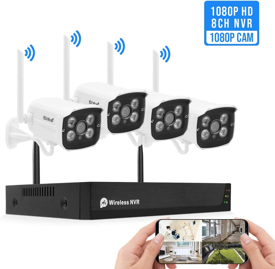1080P Wireless Security Camera System Outdoor Indoor Plug Play 8-Channel NVR 4Pcs 2MP WiFi Video Surveillance Cameras with H.265 Night Vision, Motion Detection, P2P, 24 7 Recording, No Hard Drive