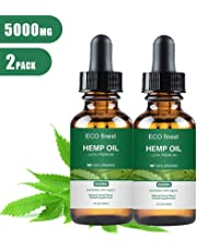 Volwco Hemp Oil - 5000MG/1000MG - Organic Hemp Oil for Better Mood, Sleep Support, Helps with Skin and Hair (2 Pack)