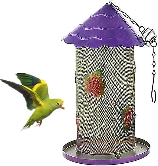 Comedero Pajaros Exterior Comedero Pajaros Jardin Pájaro de Metal alimentador Comederos pequeños para pájaros para el jardín Jardín pájaro Comederos Purple: Amazon.es: Hogar
