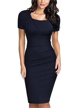 d847bfe6991a04 Miusol Damen Sommer Kleid Elegant Business Etuikleid Kurzarm Party  Abendkleider Navy Blau Gr.XL