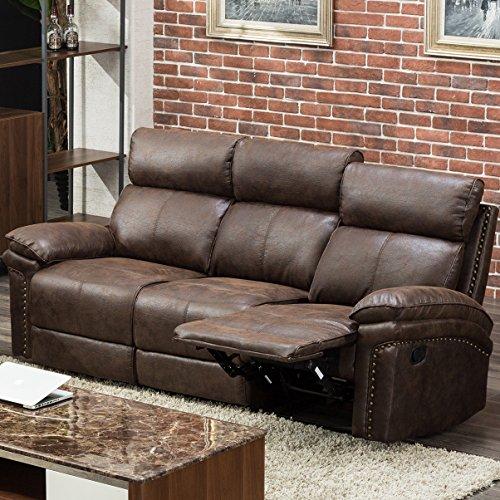 Harper & Bright Designs Sectional Recliner Sofa Set (Brown) (3-Seat Recliner)