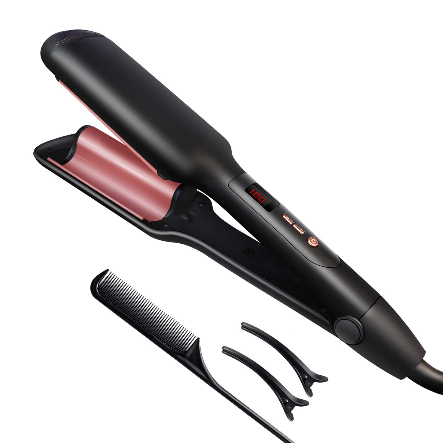 WESOPAN Crimper Hair Iron Deap Waver for Beachy Waves, Hair Waver Styling Tool Curling Iron Wand Caremic Instant Curls with Temperature Control and 110-240v Worldwide Votage by WESOPAN