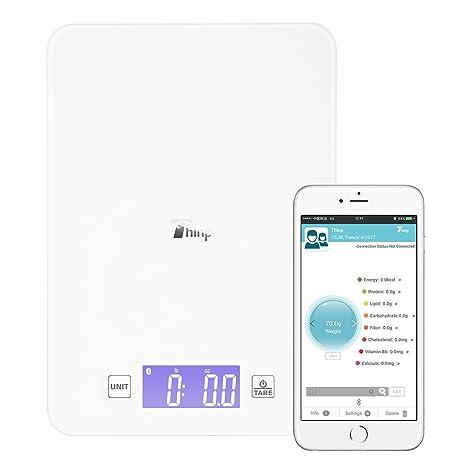 Thinp Báscula de Cocina con Análisis Nutricional Balanza Electrórnica con Bluetooth para la Medición de Peso
